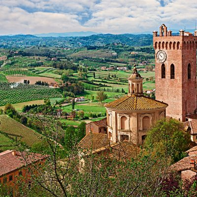 San Miniato, Pisa, Tuscany, Italy: landscape of the countryside and hills with the dome and church of the village