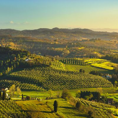 San Miniato panoramic view of countryside at sunset. Via Francigena pilgrim route. Pisa, Tuscany Italy Europe.
